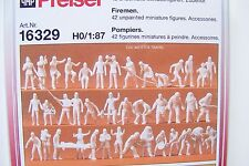 HO Preiser 42 UNPAINTED Firemen / Firefighter Figures with Accessories  # 16329