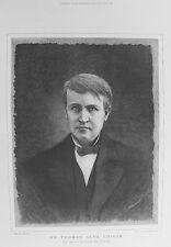OLD PRINT THOMAS EDISON INVENTOR USA PHONOGRAPH ELECTRIC LIGHT c1890 PORTRAIT