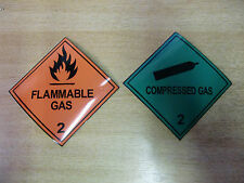 "100mm ""Compressed Gas"" + ""Flammable Gas"" MAGNETIC Warning  Signs - Combo pack"