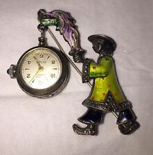 Fantastic Rare Vintage Silver Enamelled Chinaman With Lantern Fob Watch.
