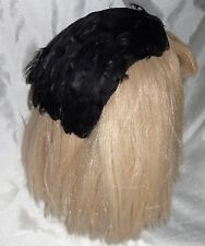 RARE AND VINTAGE FEATHER SKULL CAP / HAT IN BLACK