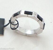 New Emporio Armani Sterling Sliver Ring Black stones Size 6.5