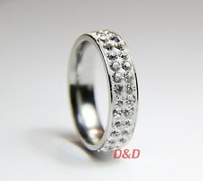 High quality 316L Shining Stainless Steel zircon crystal ring size 8