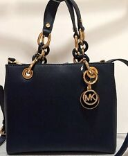 NWT Michael Kors Cynthia Small Saffiano Leather NS Satchel Navy