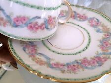 Ch Field Haviland Limoges France Bouillon Cup & Saucer Blue Ribbon Pink Rose  #2