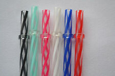 "11"" - 6 Reusable Straws Swirly Color Hard Plastic Acrylic Rings BPA Free #5"