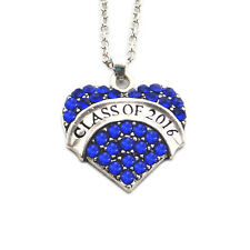Blue Class of 2016 Crystal Heart Chain Necklace Jewelry Pendant Graduation Gift