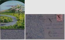 #  ALBERI IN FIORE: CART. VIAGG. 1907 CON PICCOLO DIPINTO ORIGINALE TEMPERA/ACRI
