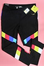 "Nicole Miller Fitness Yoga WorkOut Tights ""TV Bars"" Black LARGE msrp: 65.00 NEW"