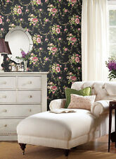 Ashford House Victorian Garden on Black Wallpaper red pink green blue flowers