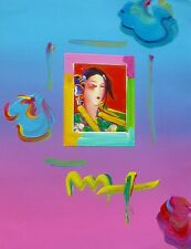"""PETER MAX """"Asia III """" unique variation Orig. mixed media HAND SIGNED 16x20"""