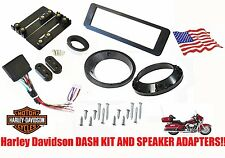 "Harley Davidson Radio Stereo Dash Install Mount Kit 5.25""-6.5"" Speaker Adapters"