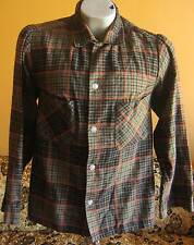Small True Vtg 1950's Fox Knapp Shadow Plaid Hipster Wool Rockabilly Shirt Usa