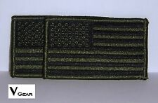 US USA American Flag patch SUBDUED OLIVE GREEN and BLACK ***LOT of 2***