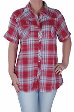 Womens Checkered Casual Plus Size Check Short Sleeve Collared Blouse Shirt