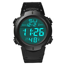 Fashion Waterproof Mens Boy LCD Digital Stopwatch Date Rubber Sport Wrist Watch