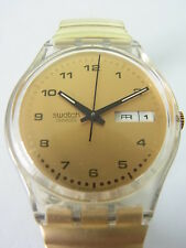 GK729 Swatch - 1998 Silence D'or Date Day Gold Classic Swiss Made Authentic