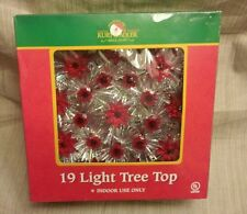 "Vintage 19 RED Light Silver Tinsel 8"" Xmas Tree Top Topper Original Box"
