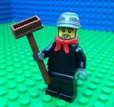 Lego City Town CHIMNEY SWEEP Train Engineer Brush Minifig Worker Minifigure