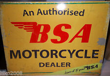 BSA DEALER  ANTIQUE-FINISH METAL WALL SIGN 40X30 CM BRITISH BIKER/ACE CAFE