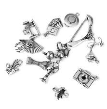 14pcs Mixed Shapes Tibetan Silver Pendants Charms Jewelry Making Craft