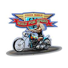 BIKER BABE BUILT FOR SPEED Schild Metall 43cm! US V2 Chopper Harley Indian Moped