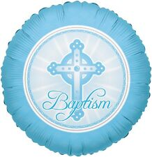 "18"" Baby Boy Baptism Round Balloon Party Decoration Celebration Blessing Blue"