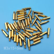 50Pcs M3 Female To Male 15 + 6mm Brass Hexagonal Stand-Off Pillars PCB Mount