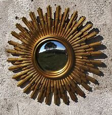 Stunning French Sunburst Wall Hanging Convex Mirror Mid Century Modernist Resin