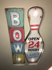 GAME ROOM BOWLING LED Metal Sign Vintage Look. PERFECT FOR GAME ROOM/MAN CAVE