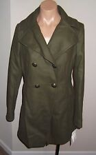 NEW $188 DKNY Military Double Breasted Wool Coat - Olive - SZ 6