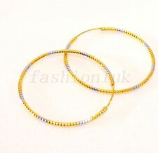 Women's 24K Yellow & White Gold Plated Big 5cm Hoop Circle Earrings