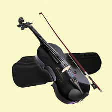 4/4 Full Size Acoustic Wood Color Violin Fiddle With Case Bow Rosin-Black Violin