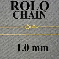 10kt Solid Gold Rollo Chain 1.0mm 18 inches.