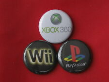 "X BOX 360 - PLAY STATION - WII  SET OF THREE NEW 2.25"" PIN BACKS BADGE"
