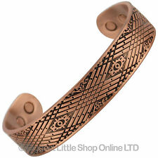 Mens Chunky Celtic Magnetic Copper Bracelet CUFF BANGLE 6 Magnets Standard Size