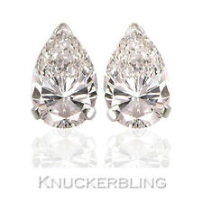 1.00ct Certificated D IF VG Diamond Solitare Stud Platinum Earrings Pear Shape