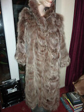"Ladies gorgeous soft real long fox fur coat bust 42"" size 14 length 48"" vgc"