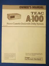 TEAC A-100 CASSETTE OWNER INSTRUCTION MANUAL ORIGINAL FACTORY ISSUE