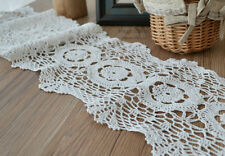 """48"""" White Hand Crochet Lace Trim Cotton 8"""" Wide French Country Cottage"""