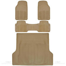 SUV Floor Mat 4 pc Rubber All Weather Heavy Duty Front Rear & Trucnk Cargo Beige