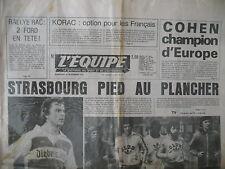 FOOTBALL COUPE U.E.FA. STRASBOURG DUISBOURG BOXE COHEN JOURNAL L'EQUIPE 1978