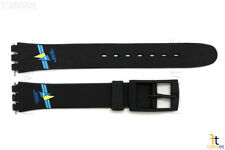 12mm Ladies Blue/Yellow Fish Design Black Watch Band Strap fits SWATCH watches