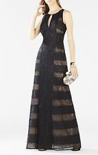 NWT BCBG  Max Azria black  gown Dress Kiley long length formal lace size 6 -$648