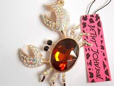 Betsey Johnson Rhinestone crab Pendant Necklace #Z19