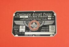New Continental O-300 Engine Data Plate, Acid Etched, Replica