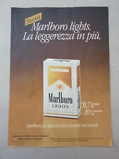 ADVERTISING PUBBLICITA' Nuova MARLBORO LIGHTS la leggerezza in piu' -- 1983