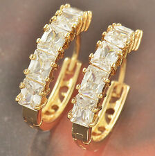 Authentic earings 14K gold filled clear CZ Womens clip on Hoop Earrings lot