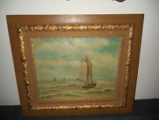 Antique oil painting, Sailboats going out to sea, signed H. Werner, nice frame!