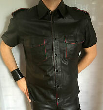 CHEMISE CUIR MANCHES COURTES L GENUINE REAL LEATHER LEDER STYLE ROB EXPECTATIONS